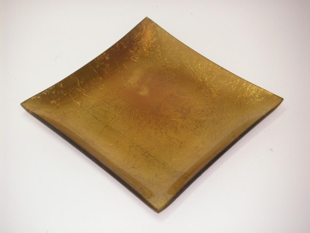 Dekoteller glasteller eckig gold 26x26cm wohnaccessoires teller tabletts - Dekoteller gold ...
