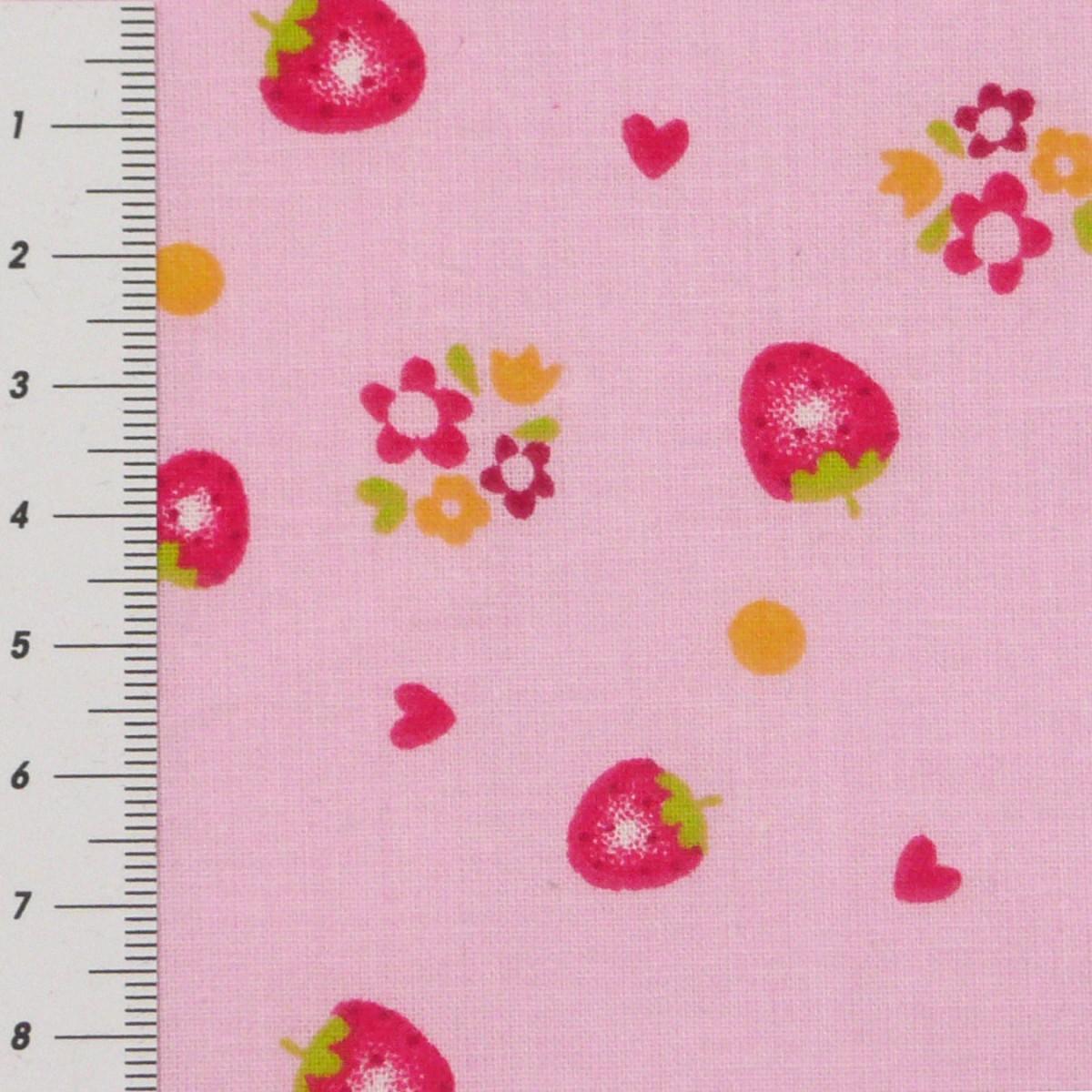 baumwolle stoff meterware erdbeeren auf rosa hintergrund. Black Bedroom Furniture Sets. Home Design Ideas