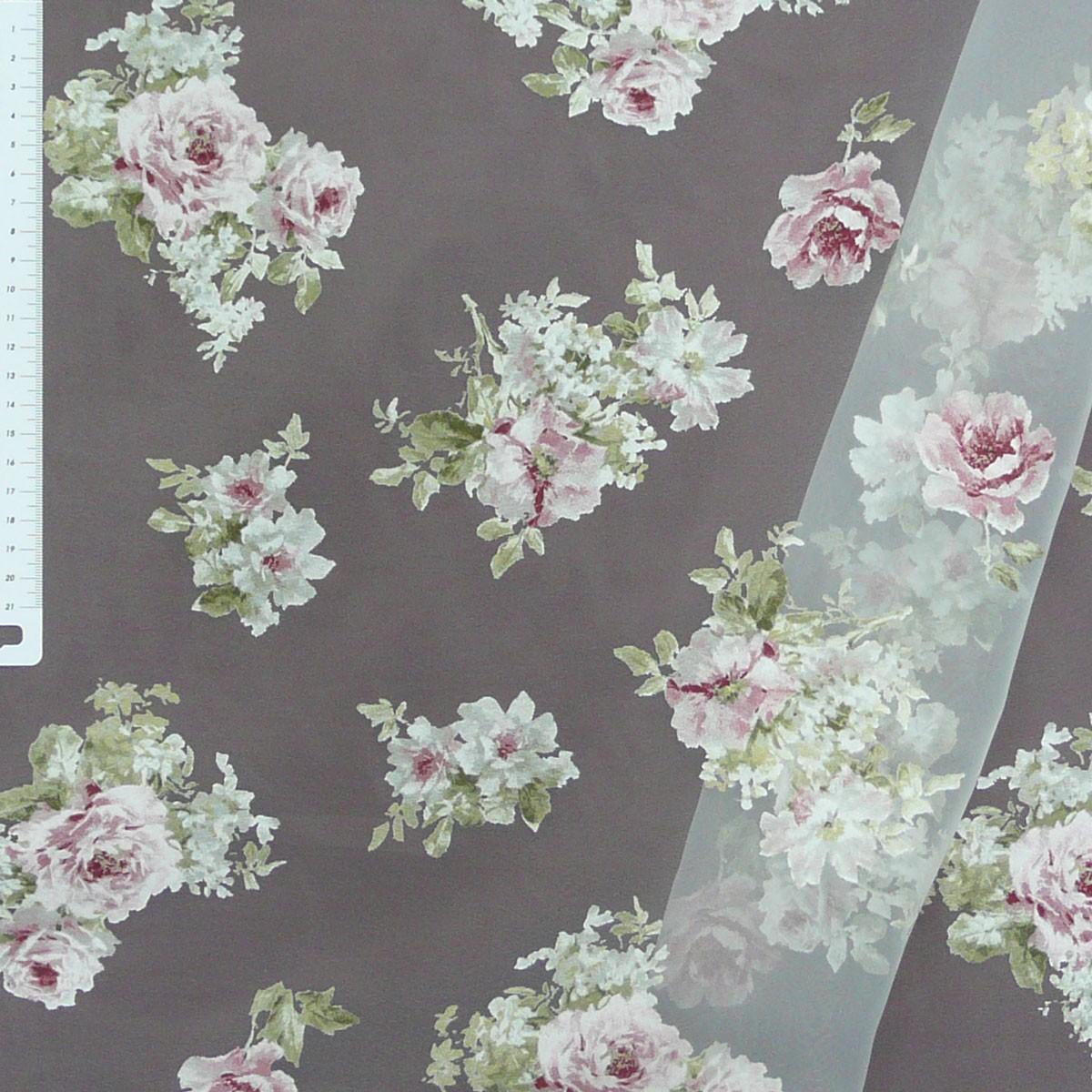 organza rose rosen gardinenstoff stoff dekostoff 2 8m h he stoffe stoffe gemustert stoff blumen. Black Bedroom Furniture Sets. Home Design Ideas