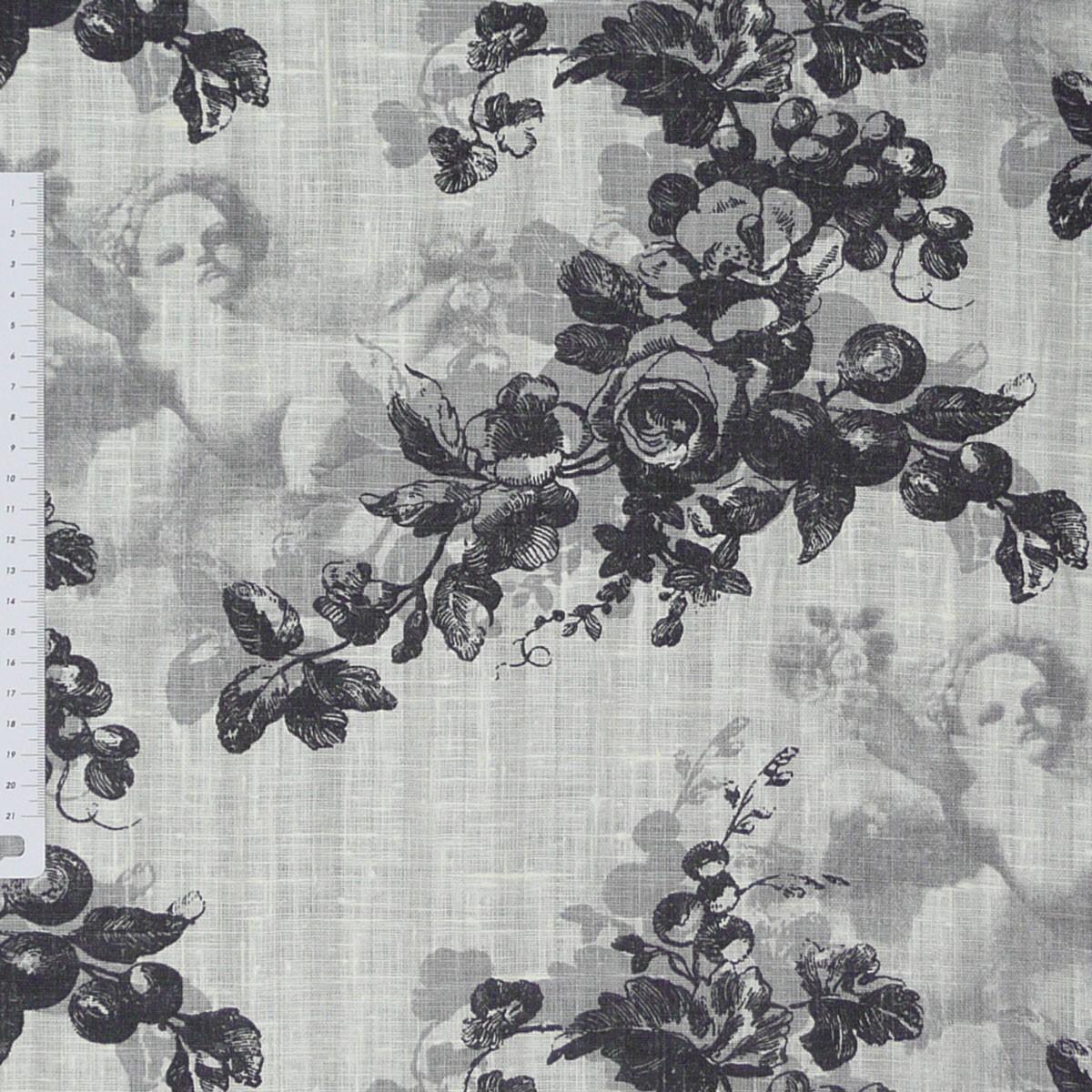leinen rosen engel grau schwarz stoff meterware gardinenstoff dekostoff stoffe stoffe gemustert. Black Bedroom Furniture Sets. Home Design Ideas