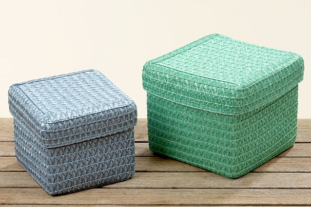 korb mit deckel blau kunststoff klein 12x15cm wohnen wohnaccessoires aufbewahrung k rbe. Black Bedroom Furniture Sets. Home Design Ideas