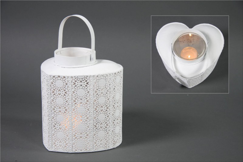 windlicht laterne teelichthalter wei in herz form 22x18cm wohnen wohnaccessoires laternen. Black Bedroom Furniture Sets. Home Design Ideas