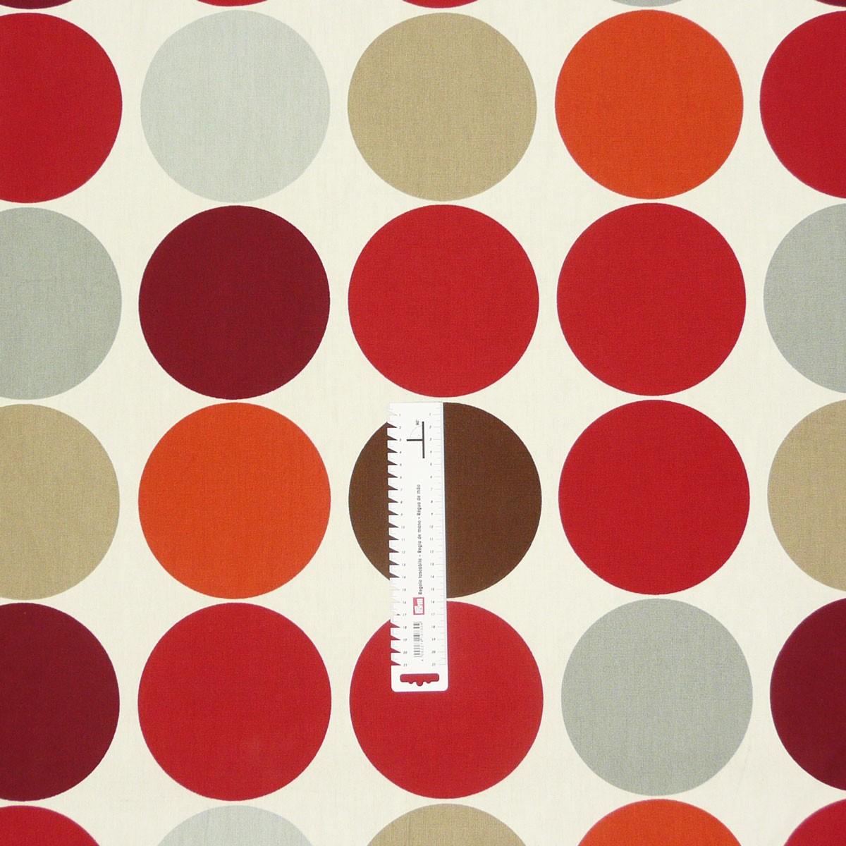 baumwollstoff kreise grau rot gardinenstoff dekostoff stoffe stoffe gemustert stoff punkte. Black Bedroom Furniture Sets. Home Design Ideas