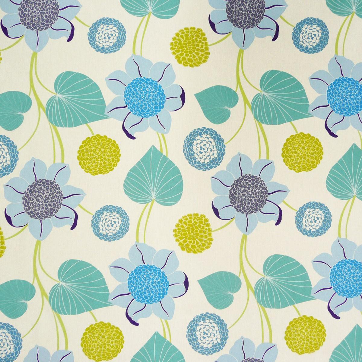 baumwollstoff deko stoff gardinenstoff delilah blumen blau gr n stoffe stoffe gemustert stoff blumen. Black Bedroom Furniture Sets. Home Design Ideas