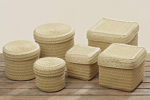 kunststoff korb rund oder eckig mit deckel beige mittel. Black Bedroom Furniture Sets. Home Design Ideas