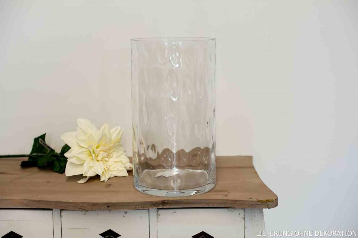 Vase Windlicht Deko Glas Cylinder Mit Maserung H 35cm