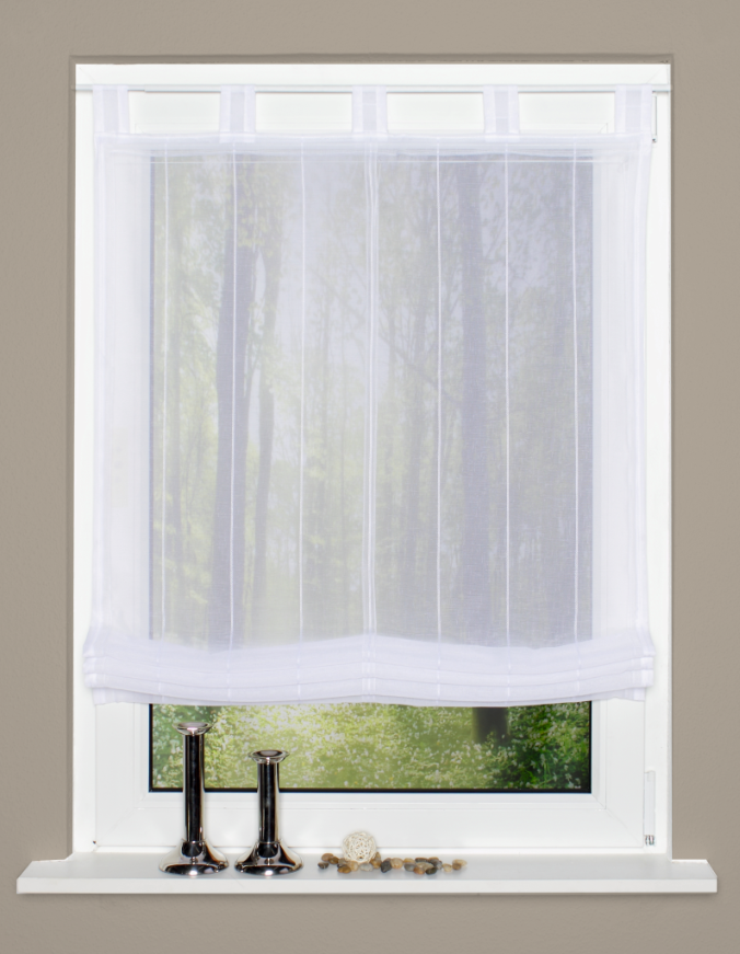 raffrollo rollo schlaufen wei transparent mit streifen 80x140cm gardinen fertiggardinen raff. Black Bedroom Furniture Sets. Home Design Ideas