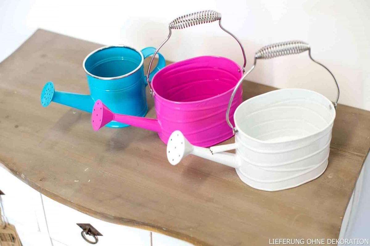 Pflanzgef eimer gie kanne deko metall pink 24x10x11cm for Metall deko shop
