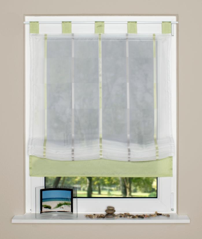 raffrollo rollo schlaufen wei transparent mit gr nen streifen 140x140cm gardinen fertiggardinen. Black Bedroom Furniture Sets. Home Design Ideas