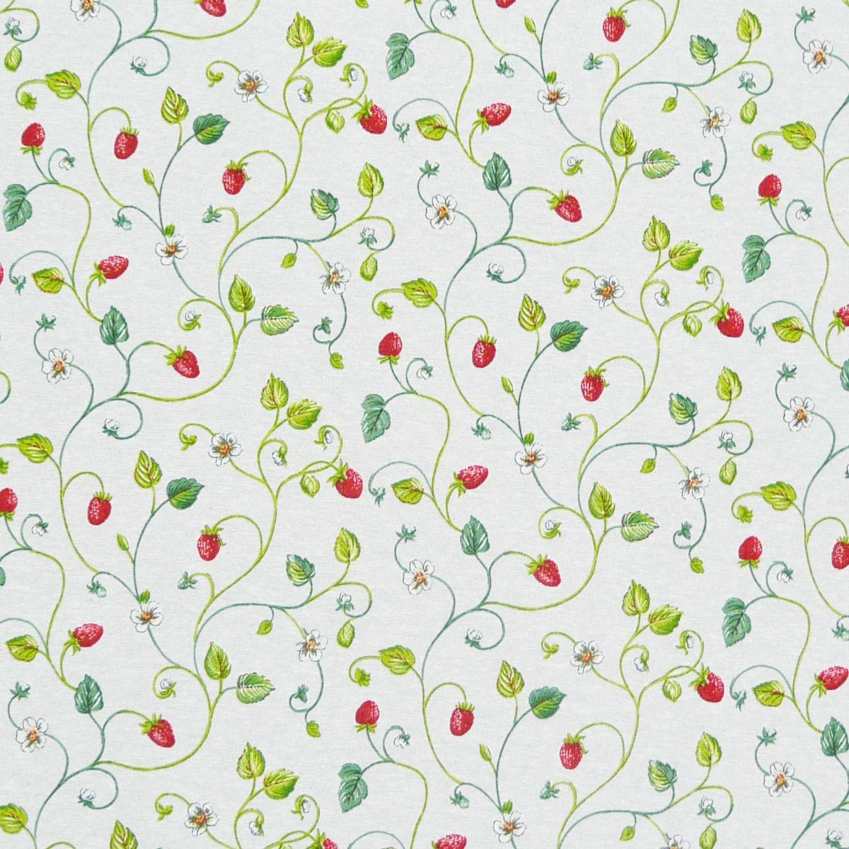 gardinenstoff stoff dekostoff meterware erdbeeren ranken wei stoffe zubeh r stoffe stoffe. Black Bedroom Furniture Sets. Home Design Ideas
