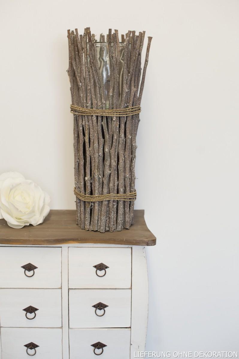 vase windlicht mit sten und seil h 65cm wohnaccessoires laternen windlichter. Black Bedroom Furniture Sets. Home Design Ideas