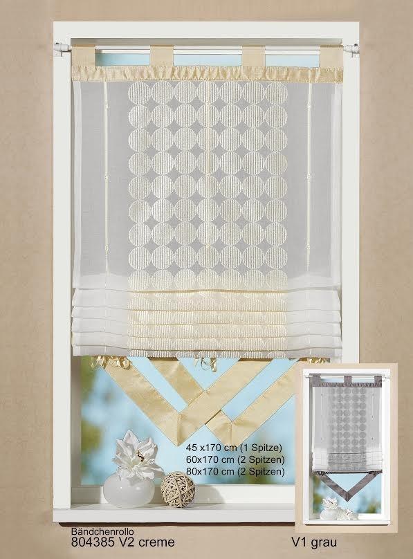 b ndchenrollo rollo mit stickerei und spitze creme 45x170cm gardinen wohntextilien gardinen. Black Bedroom Furniture Sets. Home Design Ideas