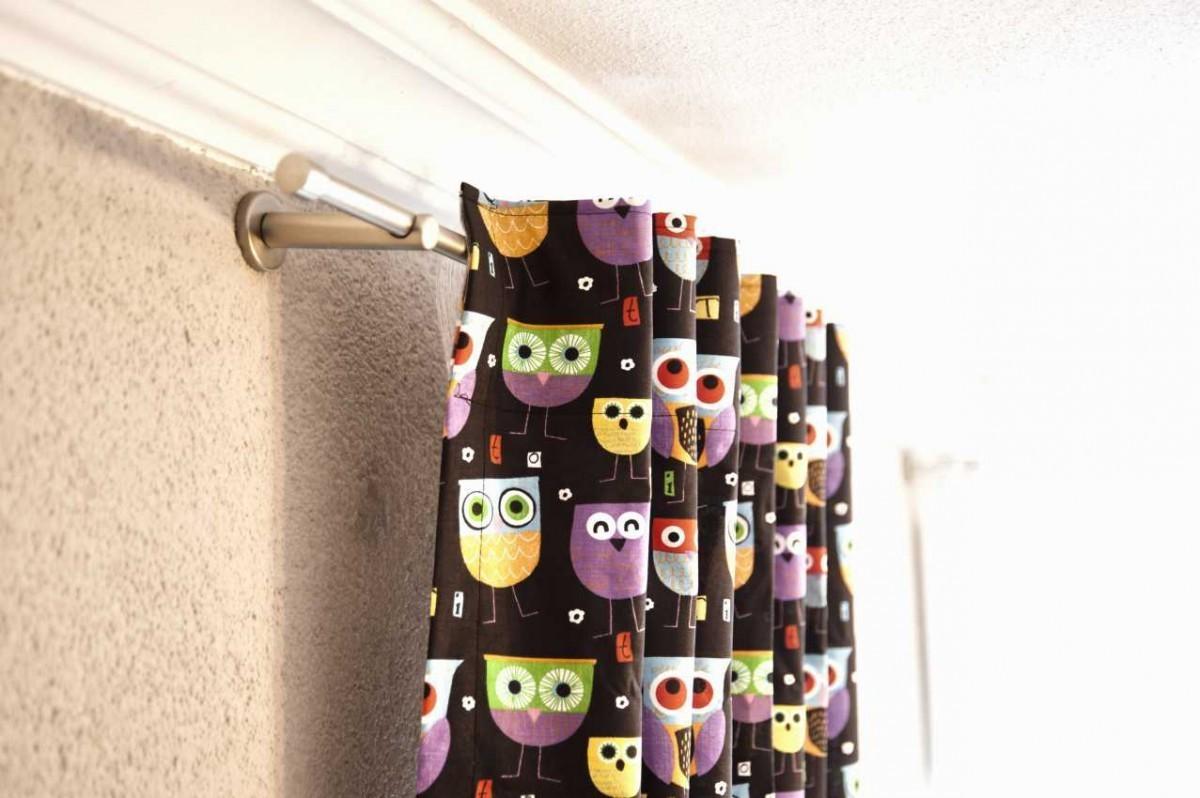 vorhang gardine mit schlaufenband eule hellblau in wunschl nge gardinen fertiggardinen schals. Black Bedroom Furniture Sets. Home Design Ideas