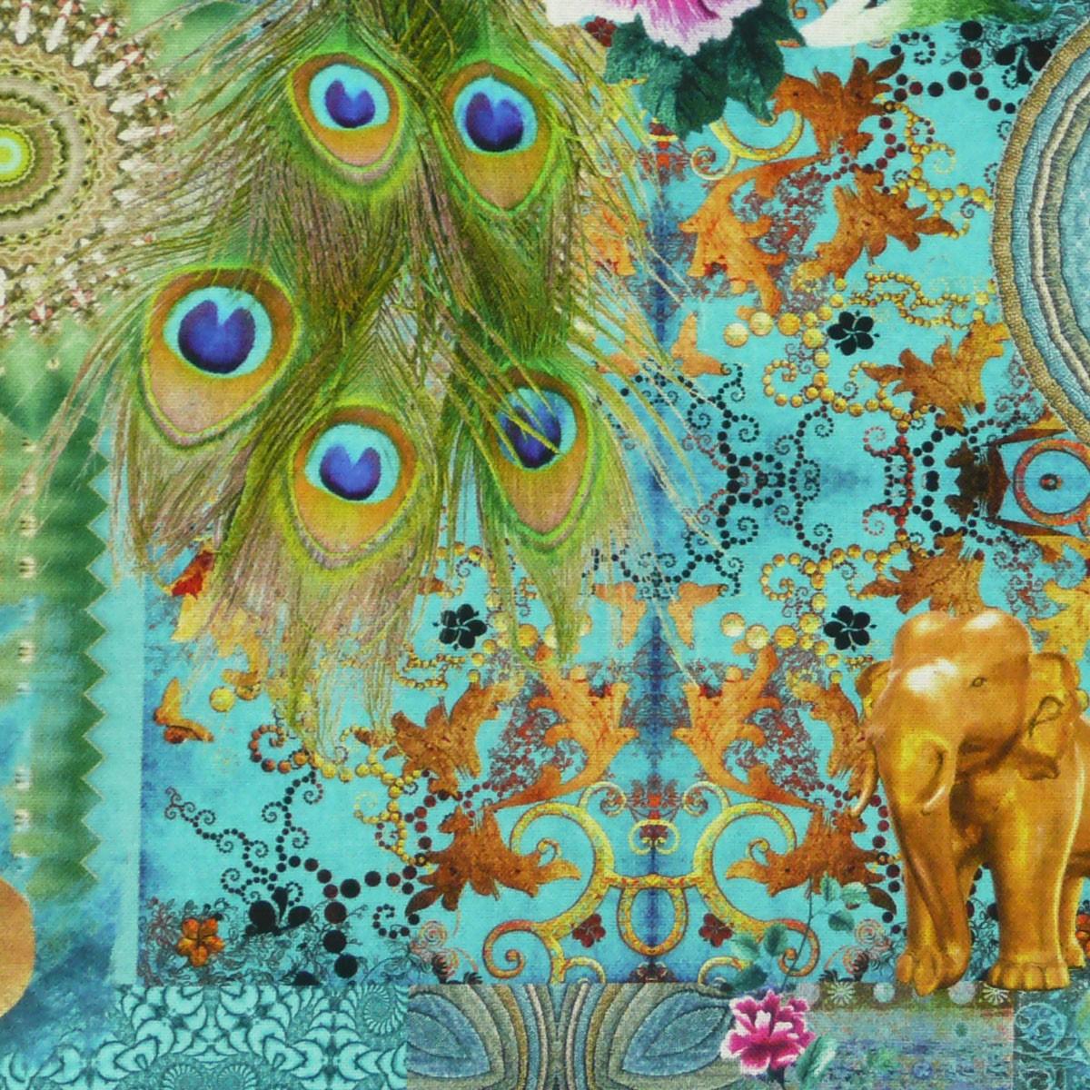 baumwollstoff fantasie orientalisch t rkis stoff dekostoff digitaldruck stoffe stoffe gemustert