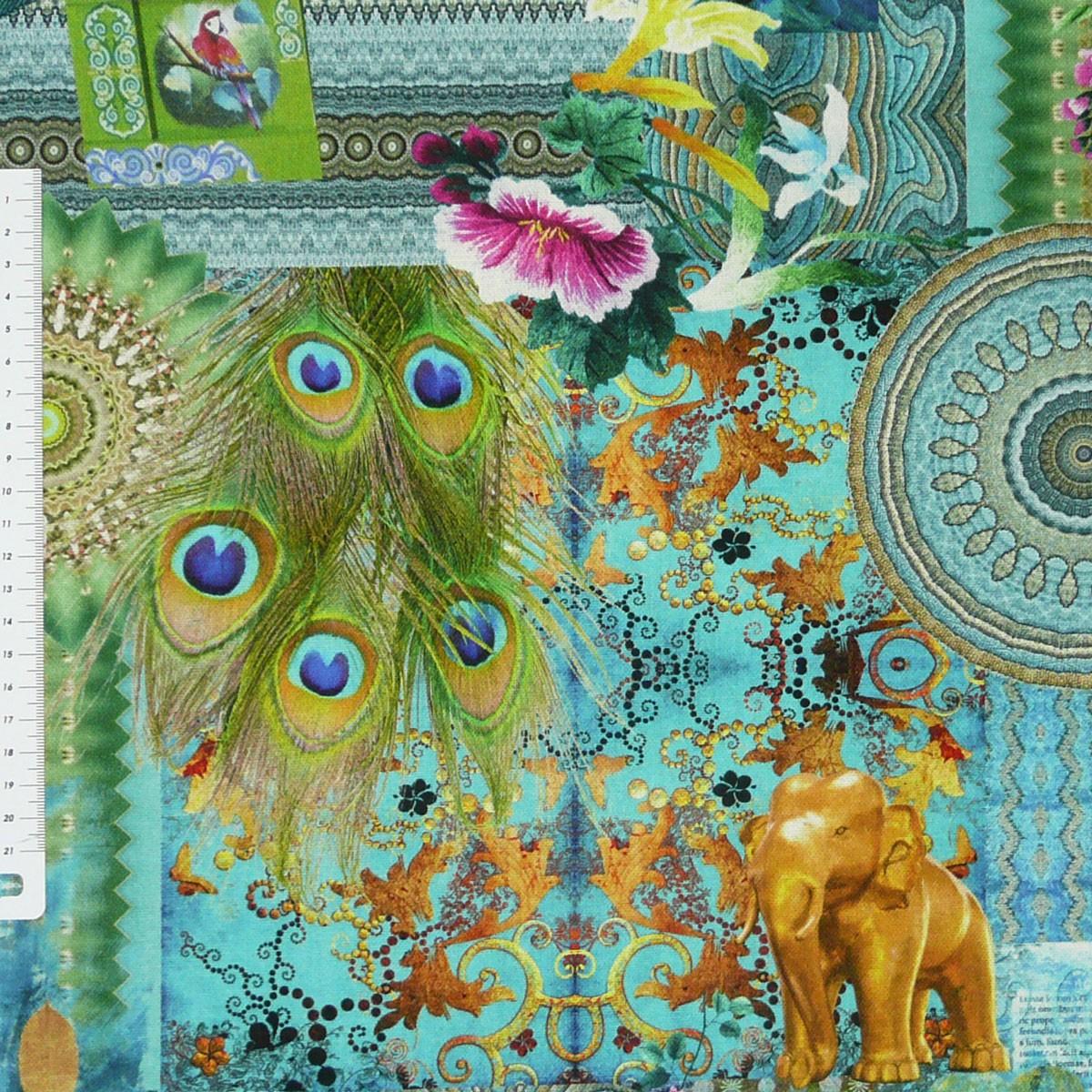baumwollstoff fantasie orientalisch t rkis stoff dekostoff digitaldruck stoffe stoffe gemustert. Black Bedroom Furniture Sets. Home Design Ideas