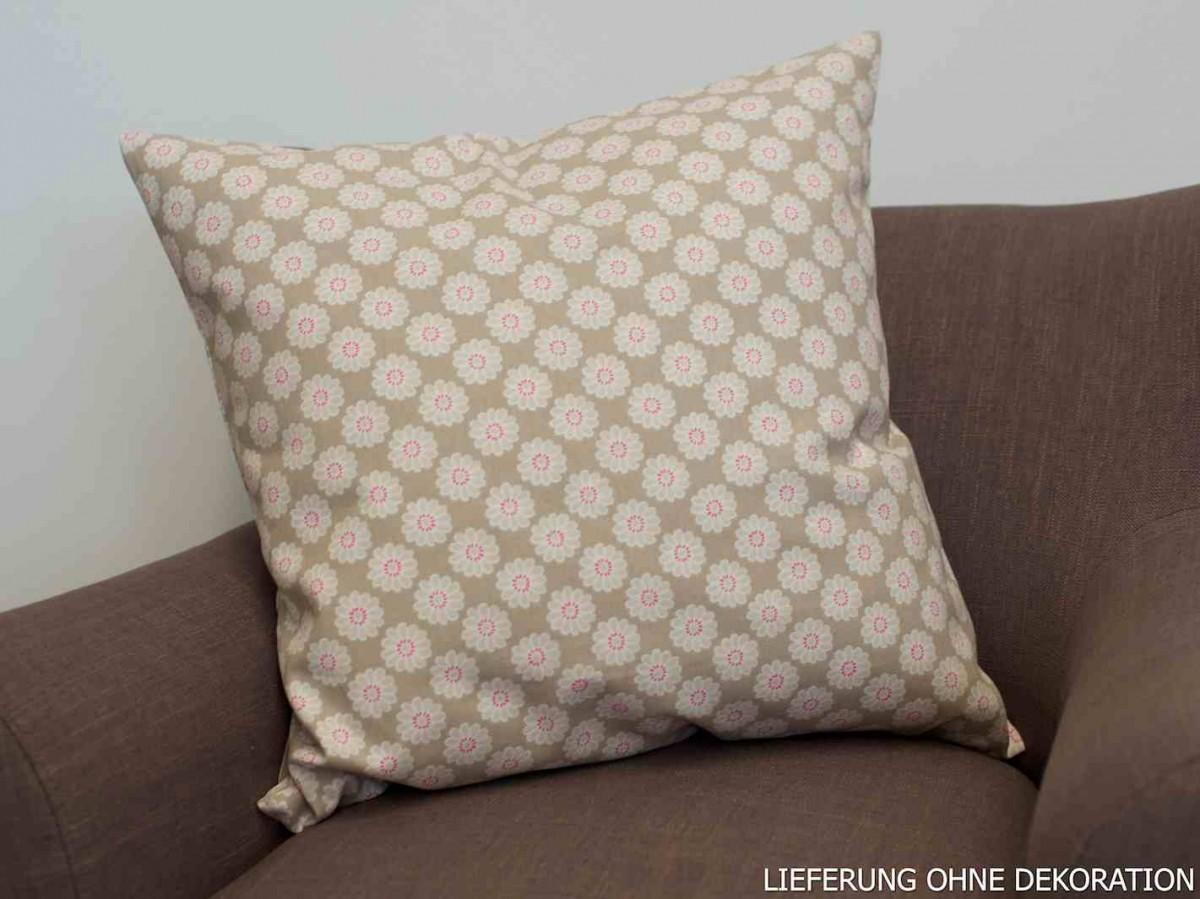 kissen kissenh lle bl tenkopf blume beige 50x50cm. Black Bedroom Furniture Sets. Home Design Ideas