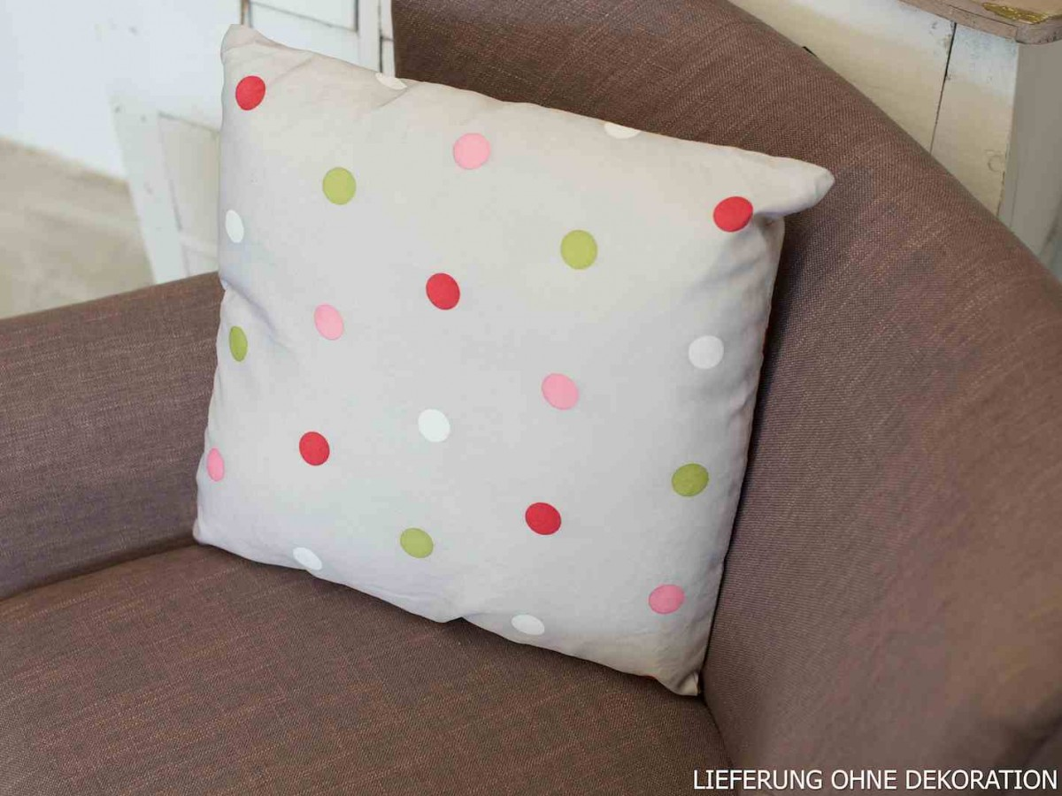 kissen dekokissen grau mit punkten 40x40cm wohntextilien kissen young trendy. Black Bedroom Furniture Sets. Home Design Ideas