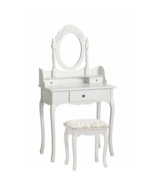 schminktisch konsolentisch mit spiegel und hocker wei. Black Bedroom Furniture Sets. Home Design Ideas