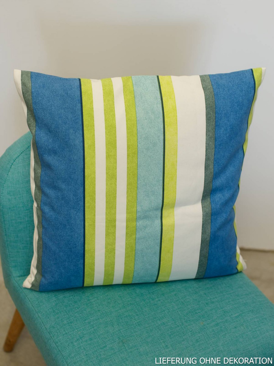 sch ner leben kissen kissenh lle streifen blau gr n. Black Bedroom Furniture Sets. Home Design Ideas