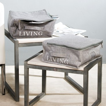 aufbewahrungsbox grau living 36x27cm wohnaccessoires. Black Bedroom Furniture Sets. Home Design Ideas