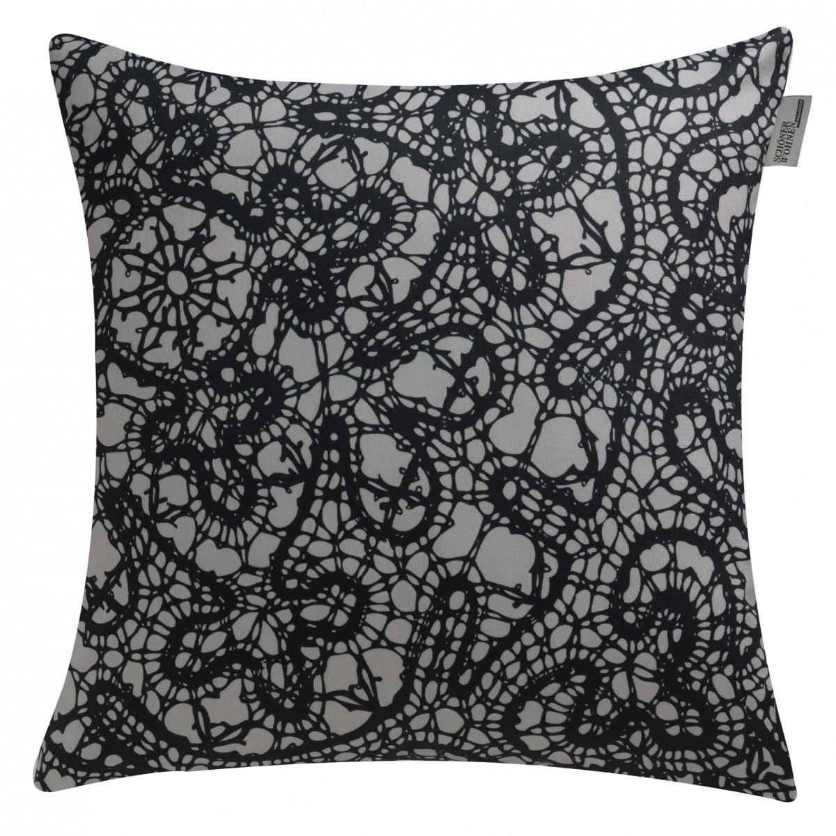 sch ner wohnen kissenh lle embroidery schwarz grau 50x50cm. Black Bedroom Furniture Sets. Home Design Ideas