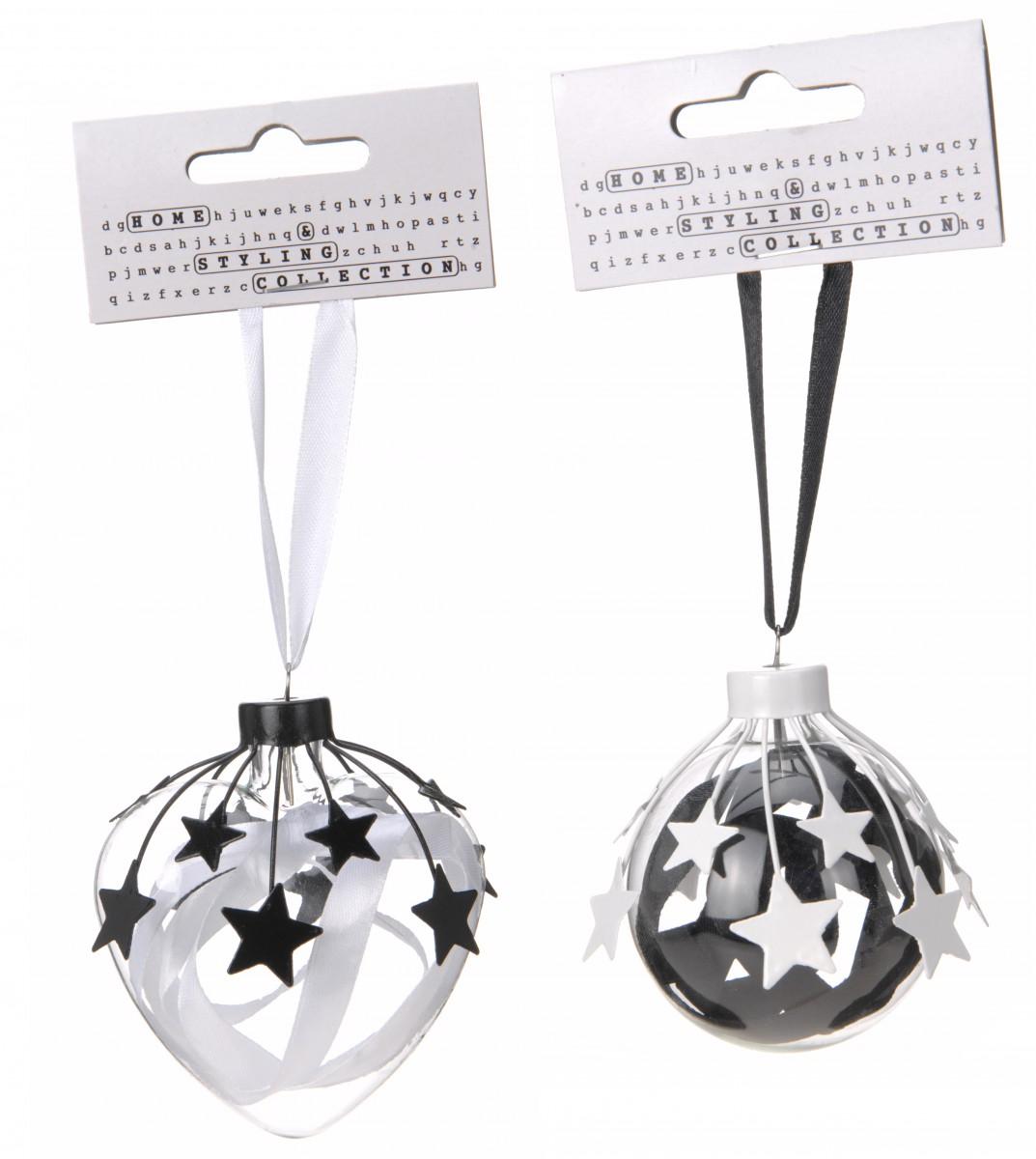 weihnachtskugeln aus kunststoff mit metallsternen in schwarz und wei 7cm. Black Bedroom Furniture Sets. Home Design Ideas