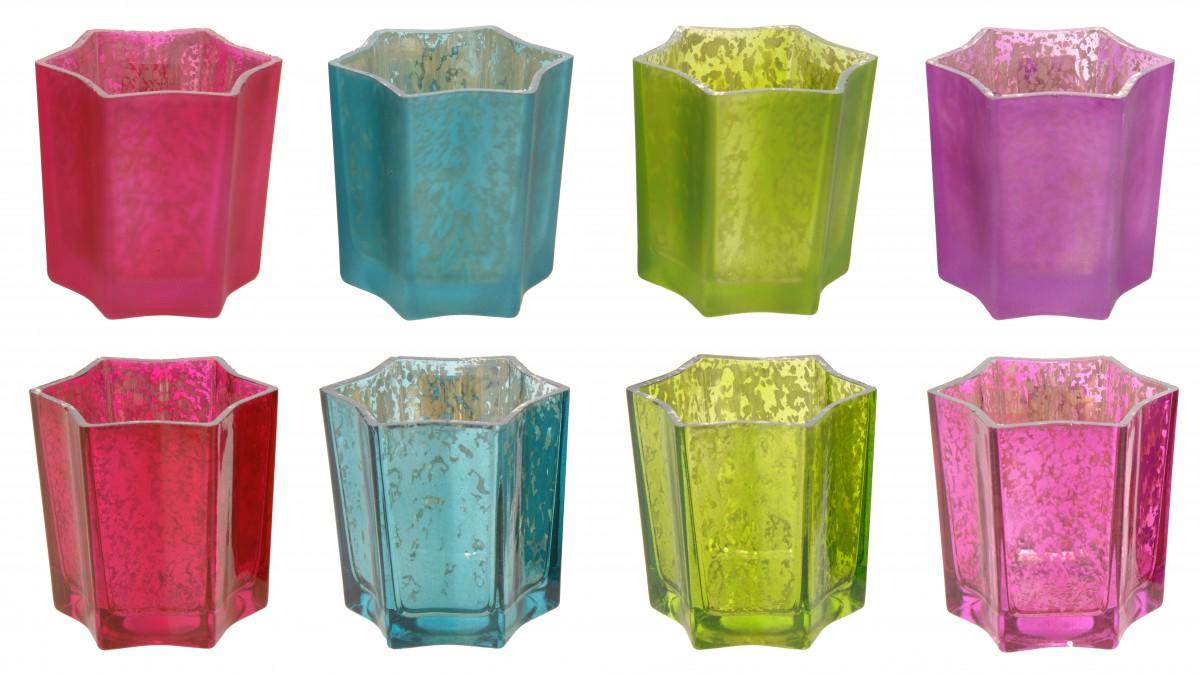Teelichthalter stern glas bunt 7x7cm wohnaccessoires for Teelichthalter glas bunt