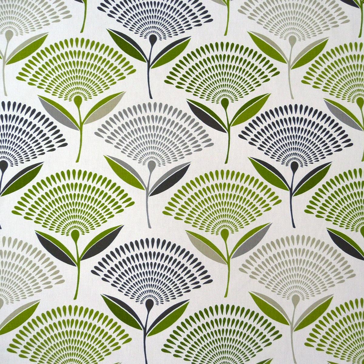 baumwollstoff blume bl te dandelion eucalyptus gr n braun dekostoff gardinenstoff stoffe stoffe. Black Bedroom Furniture Sets. Home Design Ideas