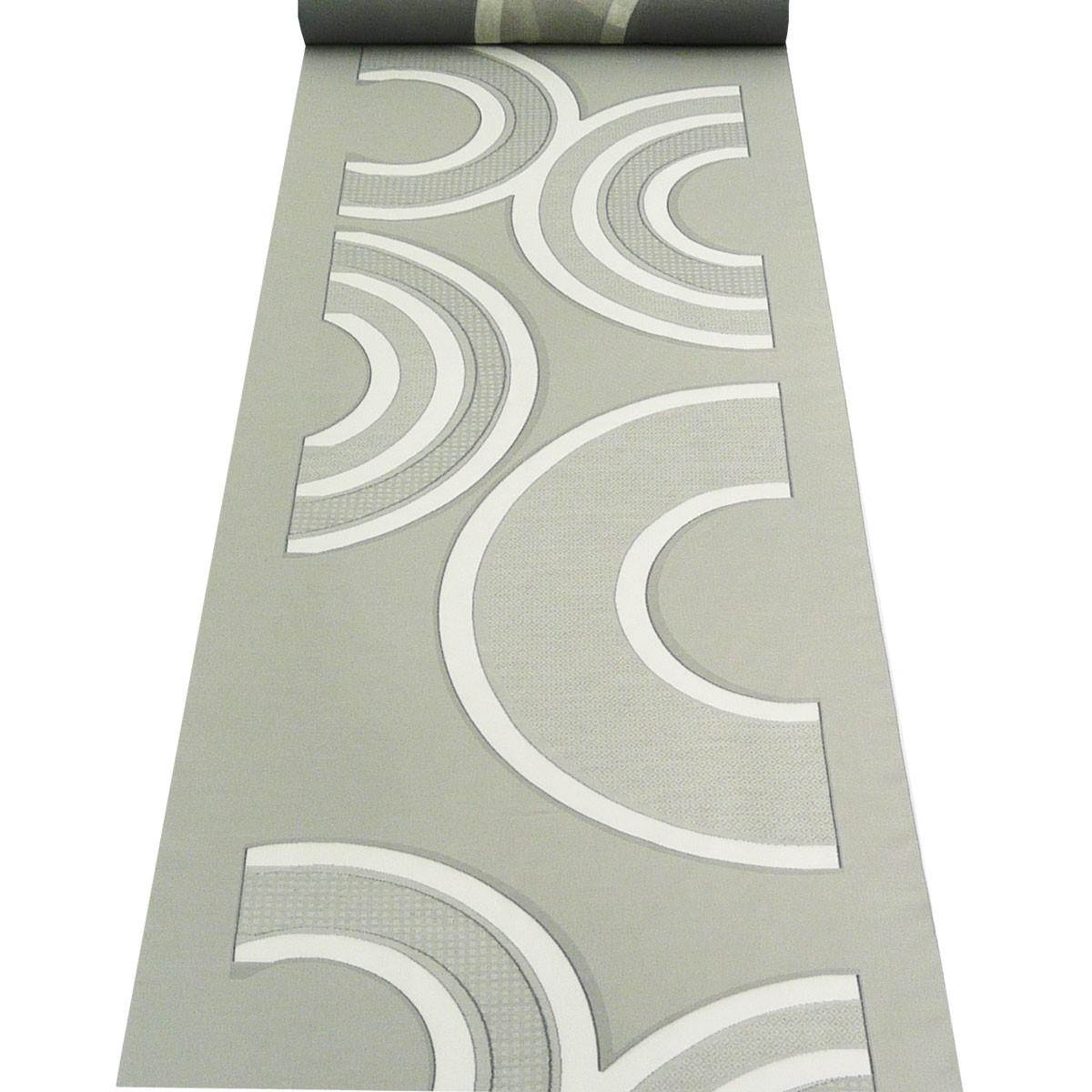 gardinenstoff paneele meterware solar halbkreis muster grau 60cm breite stoffe wohnstoffe. Black Bedroom Furniture Sets. Home Design Ideas
