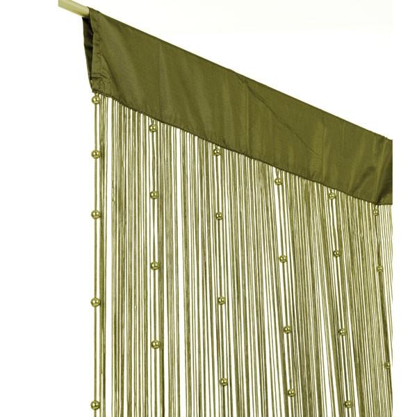 fadenvorhang fadengardine t rvorhang perlen 90x250cm helena olive gr n gardinen fertiggardinen. Black Bedroom Furniture Sets. Home Design Ideas